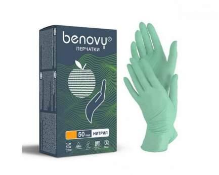 BENOVY Nitrile MultiColor, перчатки нитриловые, зеленые, S, 50 пар в упаковке