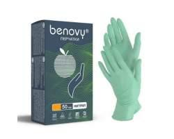 BENOVY Nitrile MultiColor, перчатки нитриловые, зеленые, XS, 50 пар в упаковке