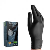 BENOVY Nitrile Chlorinated, перчатки нитриловые, черные, S, 100 пар в упаковке