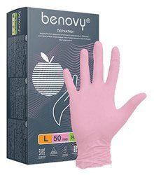 BENOVY Nitrile TrueColor, перчатки нитриловые, розовые, M, 50 пар в упаковке