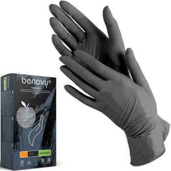 BENOVY Nitrile, перчатки нитриловые, серые, M, 50 пар в упаковке